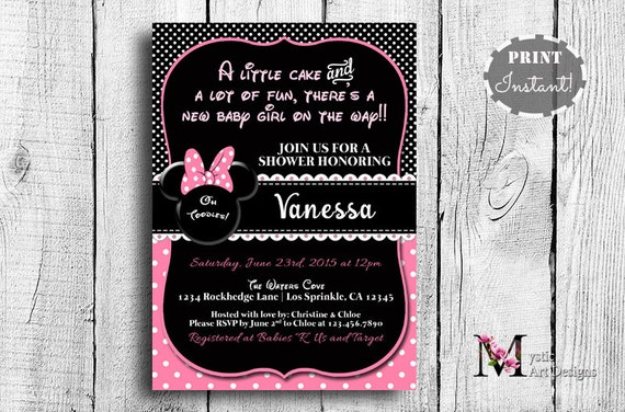 Minnie mouse baby shower invitation printable baby girl etsy image 0 filmwisefo