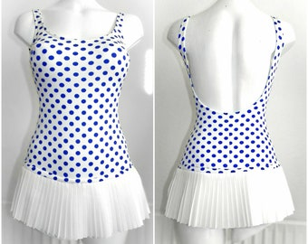 7be4f74282 Vintage genuine 1960s SLIX white and blue polka dot swimsuit skirt skirted  1950s pin up pool party summer beach rockabilly nylon original