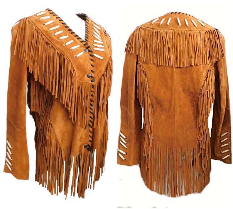 Vintage tan genuine suede fringe jacket 70s rocker Western image 0