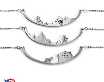 Skiing;Hiker;Dog and Cat;Home Sweet Home; Wearable Art Necklaces