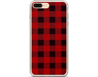 Buffalo Plaid iPhone 6s Case Fashionable iPhone Cover Black and Red Buffalo Check Phone Case iPhone 7 Case Plaid iPhone 7 Plus Case