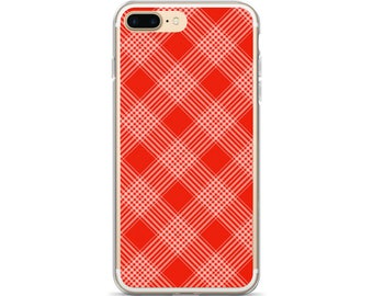 Cute iPhone 6 Case Retro Red Plaid Phone Cover Gift for Her Retro iPhone X Cover Diagonal Plaid iPhone 8 Case iPhone 7 Case