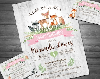 Woodland Baby Shower Invitation, Printable Invitation, Girl Forest Animals Baby Shower, Baby Shower, Diaper Raffle and Book Request INCLUDED