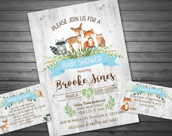 Woodland Baby Shower Invitation, Printable Invitation, Boy Forest Animals Baby Shower, Baby Shower, Diaper Raffle and Book Request INCLUDED