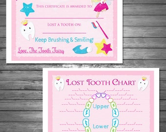 First lost tooth etsy tooth fairy certificate and lost tooth chart digital file instant download bonus first lost tooth certificate included maxwellsz
