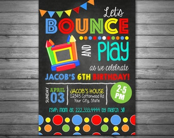 Bounce House Invitation Birthday Jumping Party Jump Chalkboard Printable Or Printed Invitations