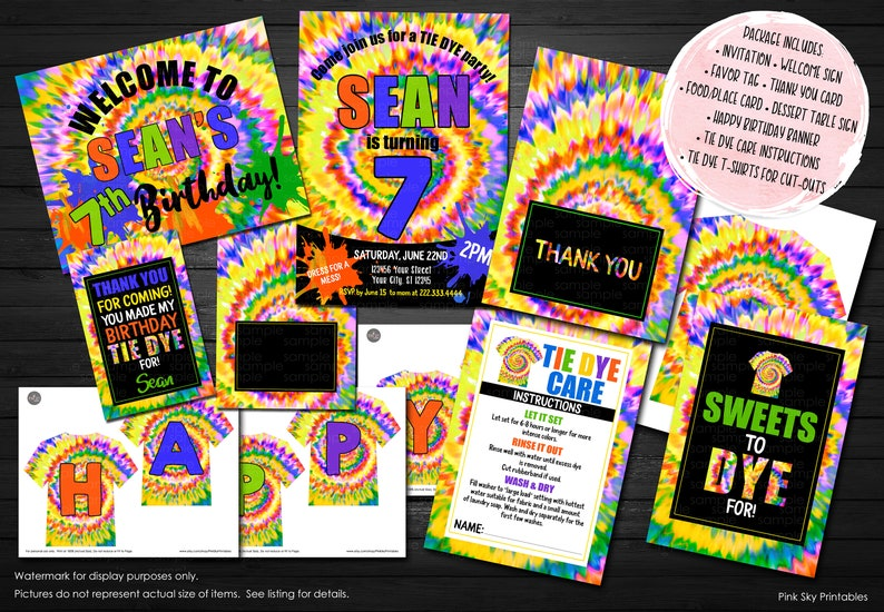 Tie Dye Party Package Invitation Food Tent Cards Welcome Sign Thank You Tags Birthday Banner Care Printable
