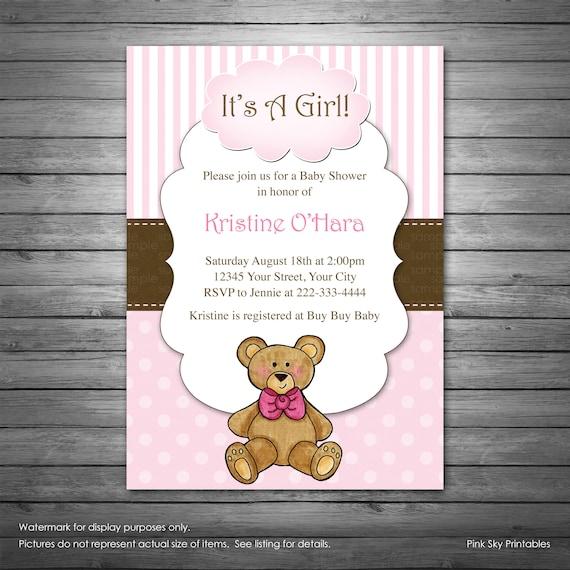 Girls Teddy Bear Baby Shower Invitation Printable File Etsy