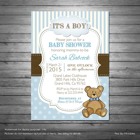 Boy teddy bear baby shower invitation with free diaper raffle etsy image 0 filmwisefo