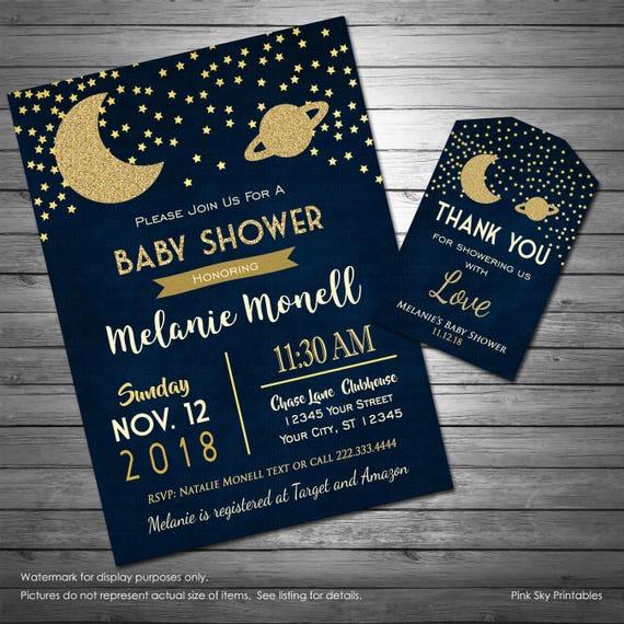 Baby Shower Invitation Moon /& Stars Printed
