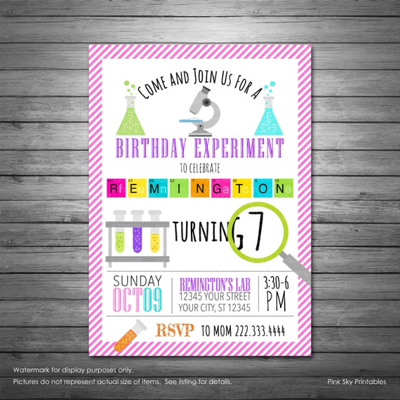 science birthday invitations printable girls science etsy