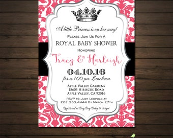 Princess Baby Shower Invitations, Printable File, Baby Shower Invitation for a Girl, Hot Pink and Black, Pink and Silver, Crown Invitation