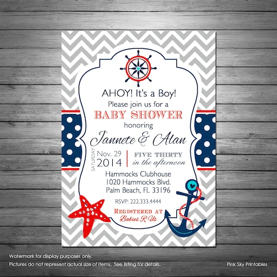 photo relating to Nautical Baby Shower Invitations Printable identify Nautical Boy or girl Shower Invites Printable or Revealed, Grey Chevron, Nautical Birthday, Sailboat, Anchor, Armed service and Pink