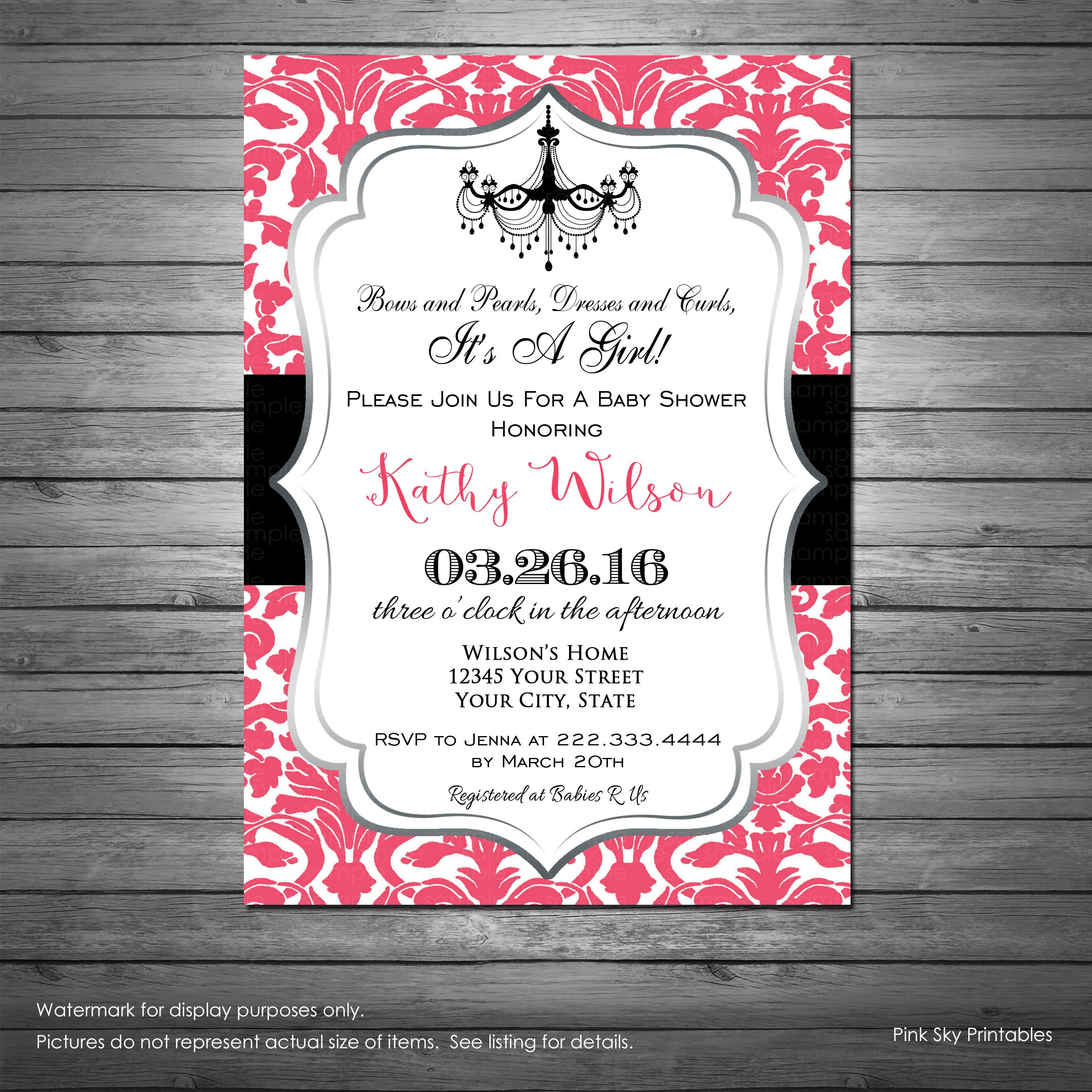 Pink and Black Baby Shower Invitation Printable File Girl | Etsy