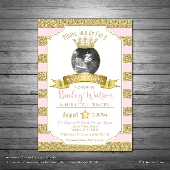 Princess sonogram baby shower invitation baby shower invitation for princess sonogram baby shower invitation baby shower invitation for a girl pink and gold elegant filmwisefo