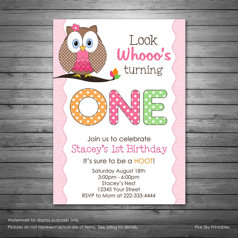 Owl Birthday Invitations Pink Polka Dots Photo