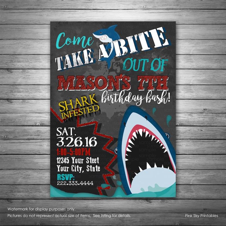 Shark Birthday Invitation Pool Party