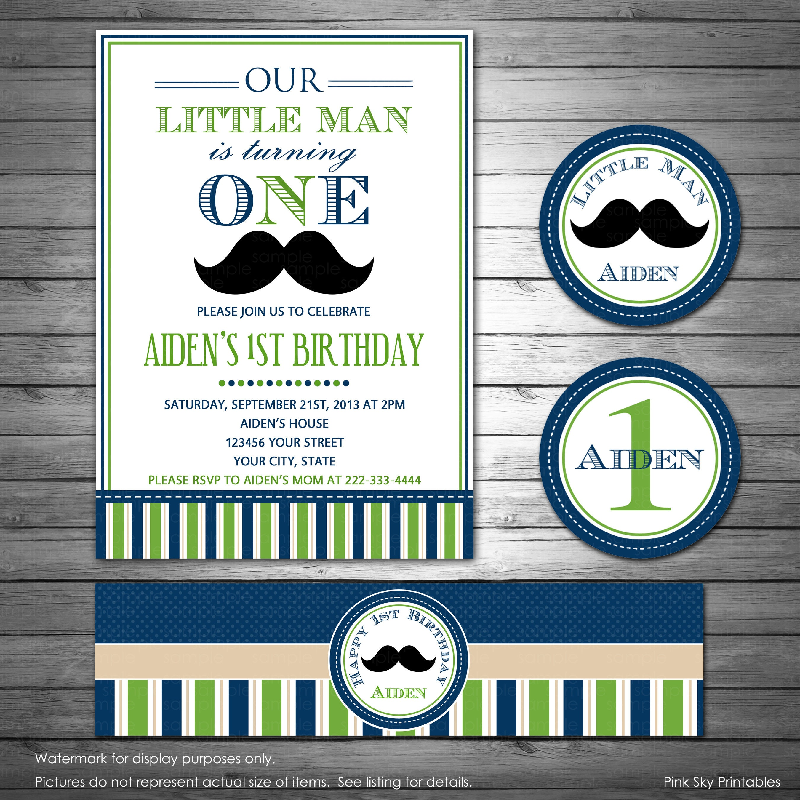 Little Man Birthday Invitation and Party Package Mustache | Etsy
