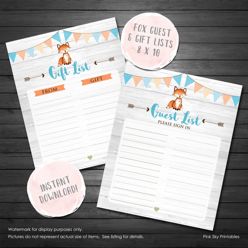 a216d445e3d0d Fox Baby Shower Sign In Sheet and Gift List, Fox Baby Shower, Woodland Baby  Shower Guest, Gift List, Baby Shower Sign in, INSTANT DOWNLOAD