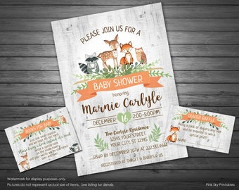 Woodland Baby Shower Invitation, Printable Invitation, Gender Neutral Forest Animals Baby Shower, Diaper Raffle and Book Request INCLUDED