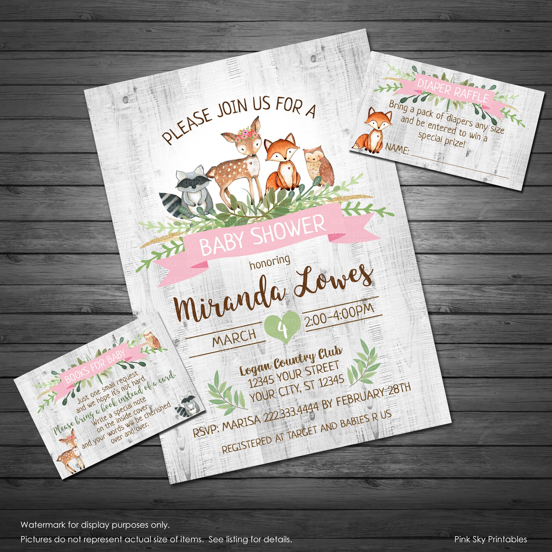Woodland Baby Shower Invitation Printable Invitation Girl | Etsy
