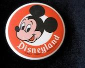"Mickey Mouse Pinback Button Orig. DISNEYLAND 3 1/2"" inches Walt Disney"