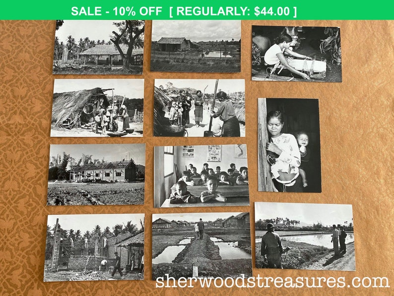1960/'s Lot Of Eleven  Vietnam Village and Center Photos with Typing On back 3 12 x 5 12 Black and White Photos Vietnam War