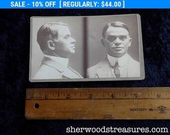 1914 Boston Police Department Criminal Saleman MUG SHOT  Man In Highly Starched Collar CDV Antique