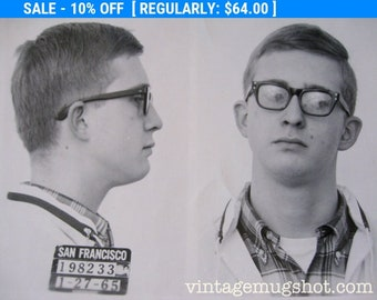 "Beatnik 1965 San Francisco  Police Department Original Criminal MUG SHOT 3 1/4"" x 4 1/4"""