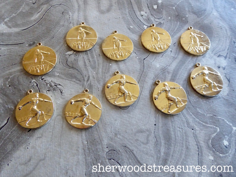 10 Bowling Medals Vintage  Fifties Gold Color 112  Exc Five Women Five Men Repurpose