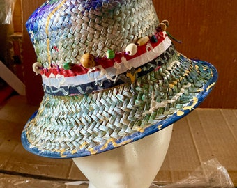 Painted, beaded woven bucket hat
