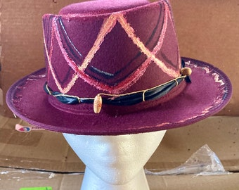 Painted, Wine Red Top Hat