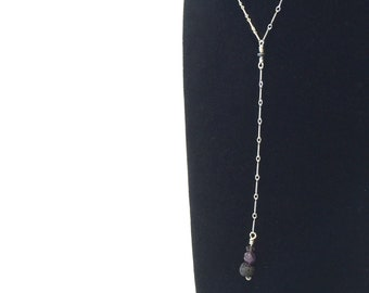 Aromatherapy Diffuser 17.5 Inch Sterling Silver Necklace With Hematite Accent and Smoky Quartz, Amethyst, With A Lava Bead - Reiki Infused