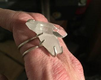 Size 7.5 Sterling Silver Prong Set Raw Arkansas Quartz Crystal Ring - Handmade Reiki Infused
