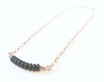 16 Inch Hematite Bronze Necklace - Reiki Infused