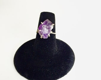 On Hold for Brandy - Size 6 -  Raw Amethyst Sterling Silver Ring - Handmade Reiki Infused