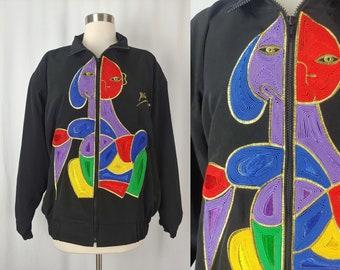MIGHTY Picasso Artwork Satin Vintage Ladies Coat Retro Bomber Jacket HTF Rare