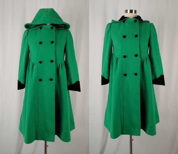 Vintage Girl's Green Wool Princess Coat - Vintage
