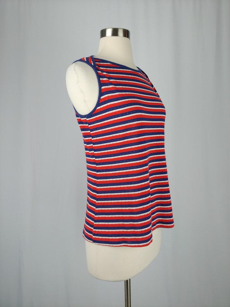 1960s Red and Blue Striped Tank Vintage Sixties Jantzen Top 60s Sleeveless Top Medium