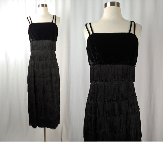 Vintage 60s Black Fringe Long Sheath Dress - Sixti