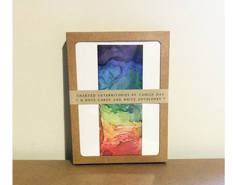 Art notecard set, 8 blank note cards and envelopes, rainbow abstract watercolor cards, Rainbow Territories 1