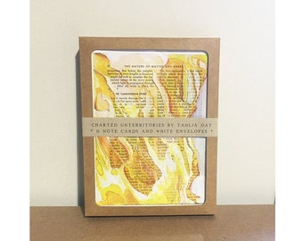 Art notecard set, 8 blank note cards and envelopes, yellow abstract watercolor cards, Luminiferous Ether