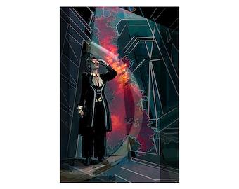 Nanite Shield, science fiction illustration print, cityscape, black pink dark green, watercolor and digital