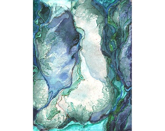 Blue green abstract art print, small wall art, watercolor mixed media art, Paper Topography 5