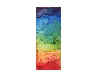 Watercolor art print, rainbow abstract art, small wall art, Rainbow Territories 1