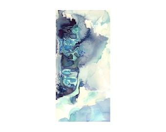 Abstract watercolor art print, blue white turquoise art, modern wall art, Hyperborea 5