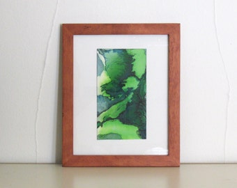 Original watercolor painting, small framed art, green abstract art, Viridian Dales