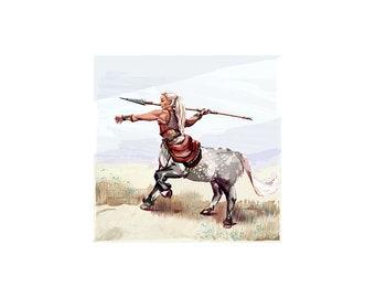 Alphabet of Marvels: Centaur, fantasy art print, fantasy illustration