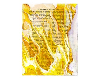 Abstract watercolor, bright yellow gold, book page art, small wall art print, Luminiferous Ether
