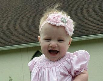 Light Pink Shabby Chic Roses Headband, Photo Prop, Weddings